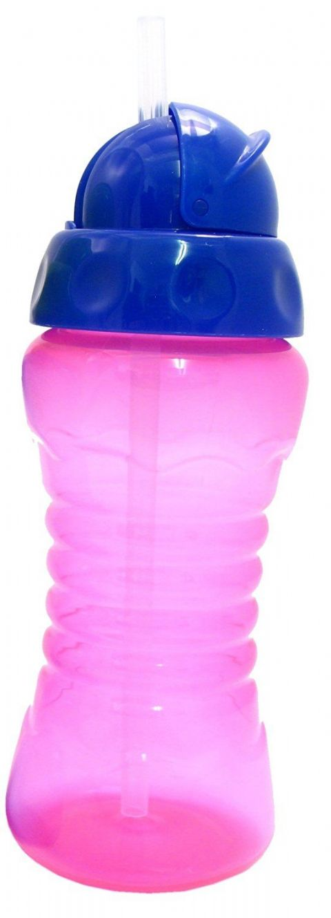 Griptight - Flexi Soft Silicone Straw Sipper Flip Top Bottle Cup (Pink/Purple)